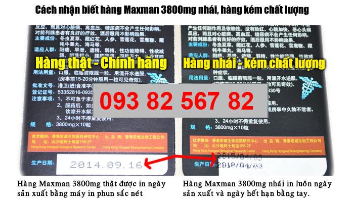 Cách Phân Biệt Thuốc MaxMan 3800mg Giả Vũng Tàu