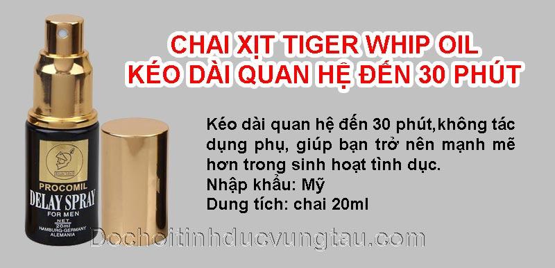 chai xịt lâu ra tiger whip oil